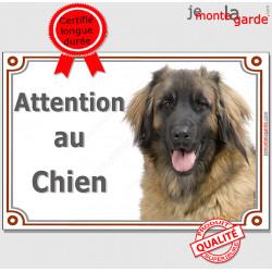 """Leonberg, plaque portail """"Attention au Chien"""" 24 cm LUXE C"""