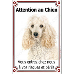 Plaque 24 cm LUXE, Attention au Chien, Caniche Blanc Tête