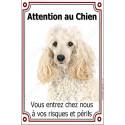 Plaque 24 cm LUXE, Attention au Chien, Caniche Blanc Tête