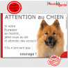 """Eurasier, plaque humour """"Jetez Vous au Sol, Attention au Chien"""" 24 cm JET"""
