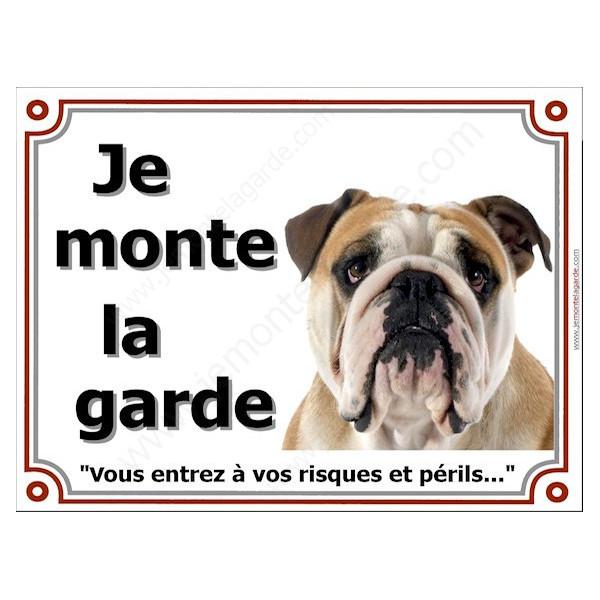"""Bulldog Anglais Tête, Plaque portail """"Je Monte la Garde, risques périls"""" panneau affiche pancarte Bouledogue beige sable"""