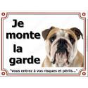 """Bulldog Anglais, plaque """"Je Monte la Garde"""" 2 tailles LUX C"""