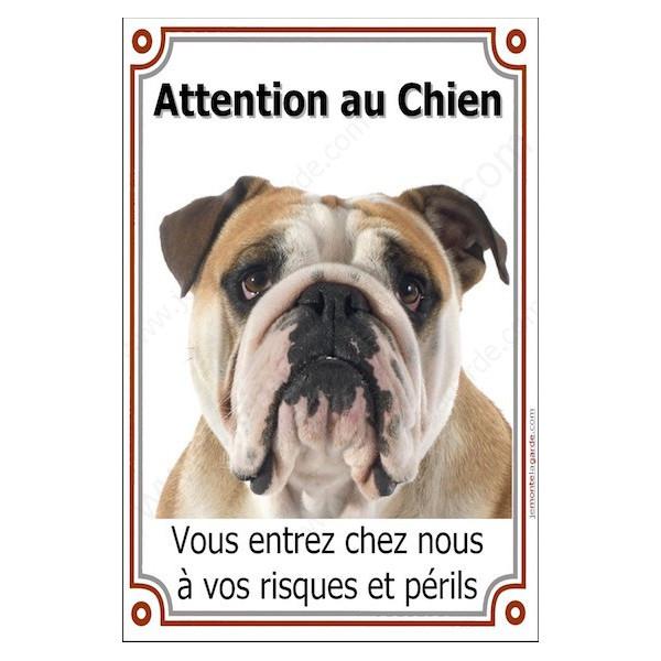 Bulldog Anglais Tête, Plaque Portail Attention au Chien verticale, risques périls, pancarte, affiche panneau Bouledogue