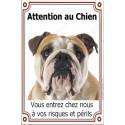 Plaque 24 cm LUXE, Attention au Chien, Bulldog Anglais Tête
