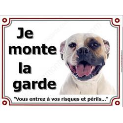 Bouledogue Américain Tête, Plaque portail Je Monte la Garde, panneau affiche pancarte, risques périls