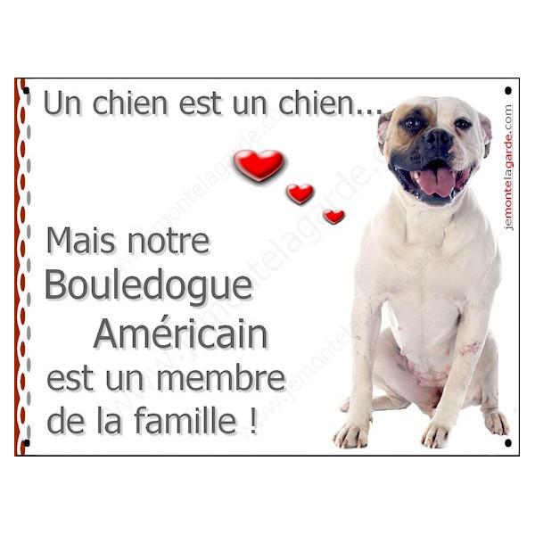 Bouledogue Américain Assis, Plaque Portail un chien est un chien, membre de la famille, pancarte, affiche panneau