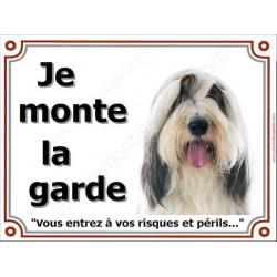 Bearded Collie Tête, Plaque portail Je Monte la Garde, panneau affiche pancarte, risques périls