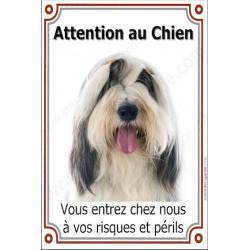 """Bearded Collie Tête, plaque portail verticale """"Attention au Chien risques périls"""" pancarte, affiche panneau photo"""