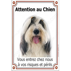 Plaque 24 cm LUXE, Attention au Chien, Bearded Collie Tête