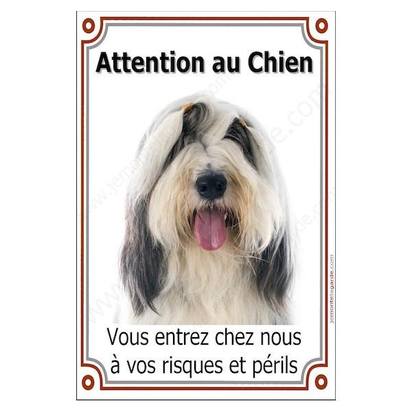Bearded Collie Tête, Plaque Portail Attention au Chien verticale, risques périls, pancarte, affiche panneau