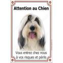 Plaque 24 cm LUXE, Attention au Chien, Bearded Collie Tête