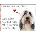 Plaque 16 cm LOVE, Membre de la Famille, Bearded Collie Tête