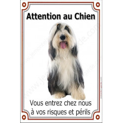 Plaque 24 cm LUXE, Attention au Chien, Bearded Collie Assis