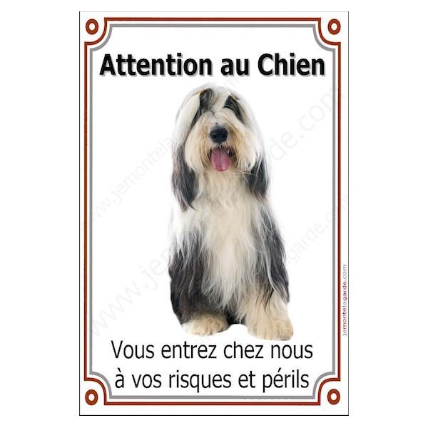 Bearded Collie Assis, Plaque Portail Attention au Chien verticale, risques périls, pancarte, affiche panneau