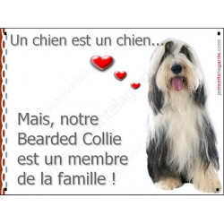 Plaque 2 Tailles LOVE, Membre de la Famille, Bearded Collie Assis
