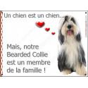 Plaque 2 Tailles LOVE, Membre de la Famille, Bearded Collie Assis