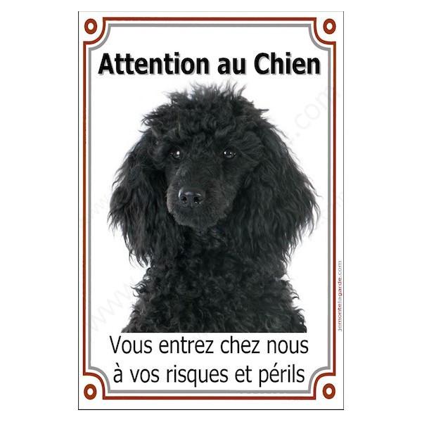 Caniche Noir Tête, Plaque Portail Attention au Chien verticale, risques périls, pancarte, affiche panneau