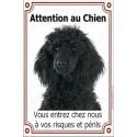 Plaque 24 cm LUXE, Attention au Chien, Caniche Noir Tête