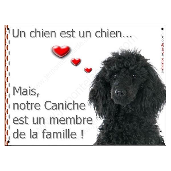 Caniche Noir Tête, Plaque Portail un chien est un chien, membre de la famille, pancarte, affiche panneau