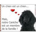 Plaque 16 cm LOVE, Membre de la Famille, Caniche Noir Tête