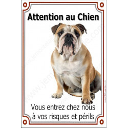 Plaque 24 cm LUXE, Attention au Chien, Bulldog Anglais Assis
