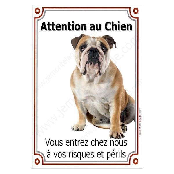 Bulldog Anglais Assis, Plaque Portail Attention au Chien verticale, risques périls, pancarte, affiche panneau Bouledogue