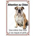 Plaque 24 cm LUXE, Attention au Chien, Bulldog Anglais Assis