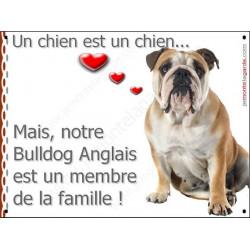 Plaque 16 cm LOVE, Membre de la Famille, Bulldog Anglais Assis