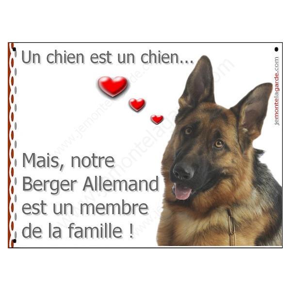 Berger Allemand Poils courts Tête, Plaque Portail un chien est un chien, membre de la famille, pancarte, affiche panneau