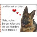 Plaque 24 cm LOVE Membre de la Famille, Berger Allemand Poils courts Tête