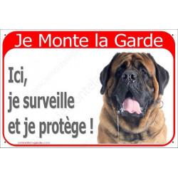 Plaque 24 cm RED, Je Monte la Garde, Mastiff Fauve Tête