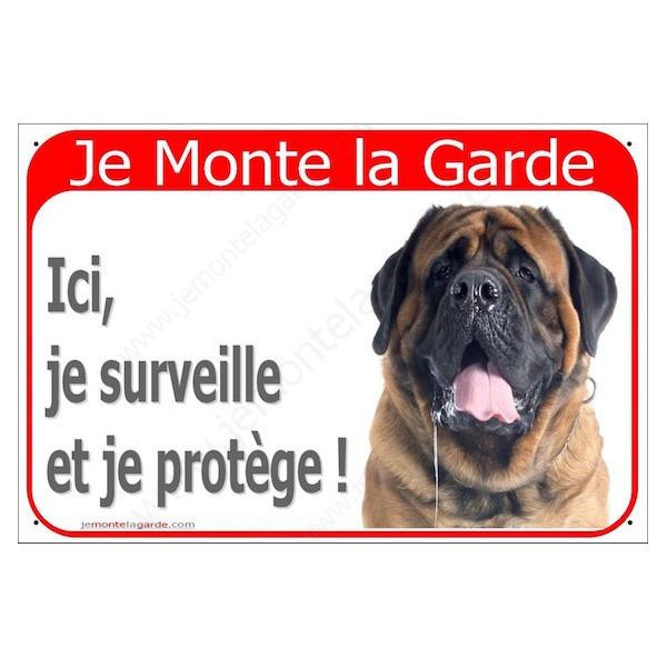 Mastiff Fauve Tête, Plaque Portail Je Monte la Garde, surveille protège, pancarte, affiche panneau