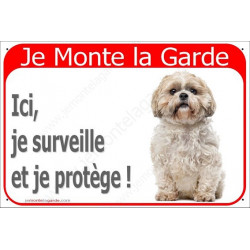 Plaque 24 cm RED, Je Monte la Garde, Shih-Tzu Assis