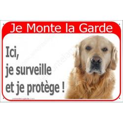 Plaque 2 Tailles RED, Je Monte la Garde, Golden Retriever Tête