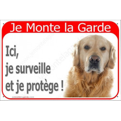 Plaque 24 cm RED, Je Monte la Garde, Golden Retriever Tête