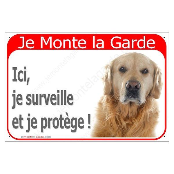 Golden Retriever Tête, Plaque Portail Rouge Je Monte la Garde, surveille protège, pancarte, affiche panneau