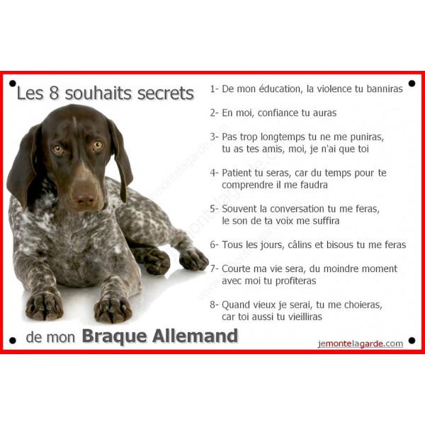 Braque Allemand Couché, Plaque Portail Les 8 Souhaits Secrets, pancarte, affiche panneau, commandements éducation