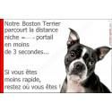 """Boston Terrier Tête, plaque humour """"distance Niche - Portail"""" 24 cm 3SEC"""