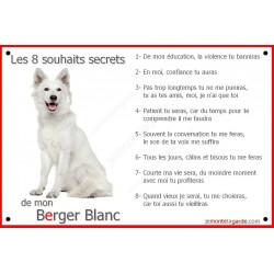 """Berger Blanc Assis, Plaque """"Les 8 Souhaits Secrets"""" pancarte photo affiche panneau, commandements éducation cadre"""