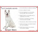 Plaque 24 cm CDT, 8 Souhaits Secrets, Berger Blanc Assis