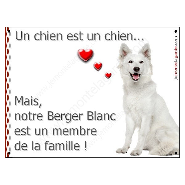 Berger Blanc Assis, Plaque Portail un chien est un chien, membre de la famille, pancarte, affiche panneau