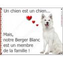 Plaque 2 Tailles LOVE Membre de la Famille, Berger Blanc Assis