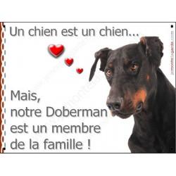 Plaque 2 Tailles LOVE Membre de la Famille, Doberman Tête