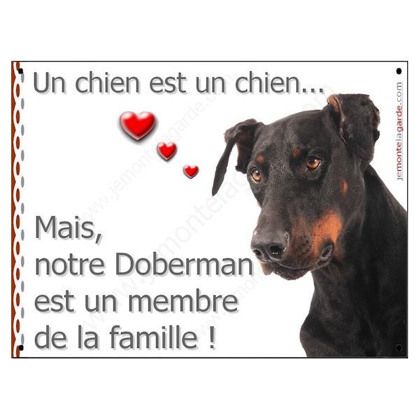 Doberman Tête, Plaque Portail un chien est un chien, membre de la famille, pancarte, affiche panneau