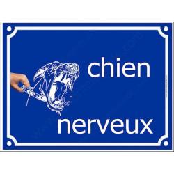 """Plaque Portail """"Chien Nerveux"""" 4 tailles FUN A"""