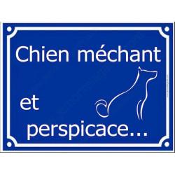 Attention Chien Méchant et Perspicace... Plaque bleu portail humour marrant drôle panneau affiche pancarte