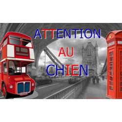 """Plaque portail """"Attention au Chien"""", Londres Angleterre 20 cm OBI"""
