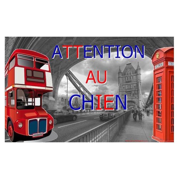Angleterre Londres, Plaque Portail Attention au Chien, pancarte, affiche panneau