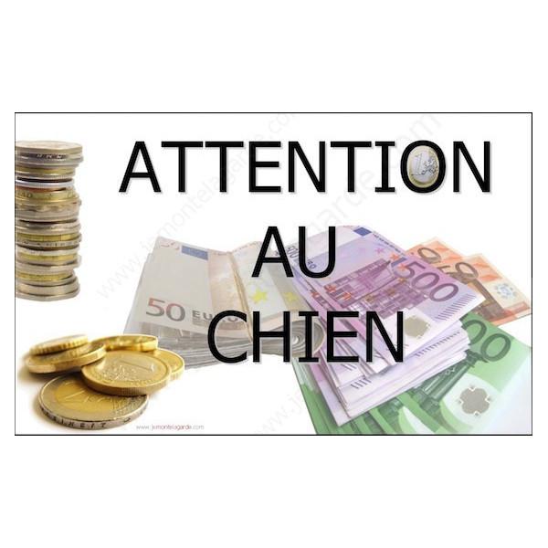 Millionnaire Billets, Plaque Portail Attention au Chien, pancarte, affiche panneau