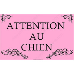 Plaque 20 cm OBI, Attention au Chien, Baroque Rose